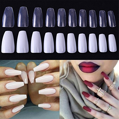 Ballerina Falsche Nagel-Tipps Coffin Form Full Nail Art Tipps (Sarg-form)