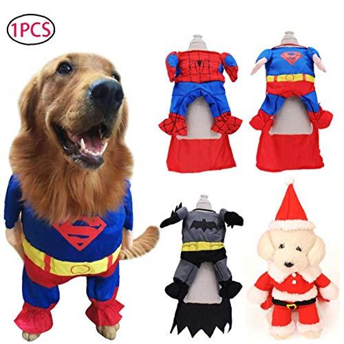 TDlmfRDi Superman Hund-Katze-Welpen-Halloween-Kostüm-Kleidung Haustier- Superdog Dress Up Größe S (Hunde Tragen Superman Kostüm)