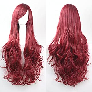 Womens Ladies Girls 80cm Burgundy Color Long Curly Wigs High Quality Hair Carve Cosplay Costume Anime Party Bangs Full Sexy Wigs