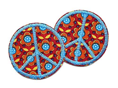 2 Peace Patches zum Aufbügeln, Blumen Retro Bügelbild, Hippie Accessoire