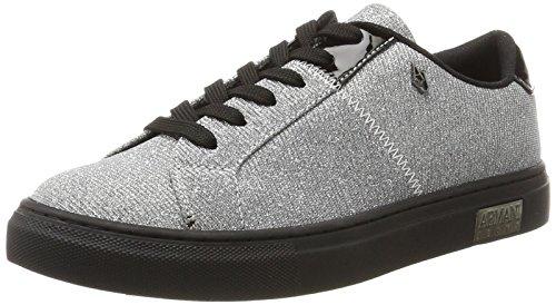 Armani Jeans Damen Bassa Sneaker, Silber (Argento), 39 EU