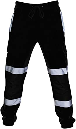 suanret Hi Viz Pants Visibility Work Wear Safety Cargo Railway Highway Trousers 2 Reflective Tape Stripe Band Two Tone Jogging Bottoms Sweat Tracksuit Joggers