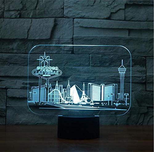 Las Vegas Gebäude Tischlampe Schlafzimmer Atmosphäre Schlaf Beleuchtung Usb Decor Für Souvenir Nachtlichter ()