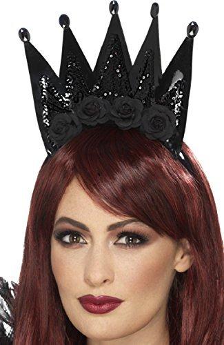 rz Rose Paillette dunkel Böse Königin Krone Prinzessin Halloween Karneval Kostüm Verkleidung Zubehör (Dunkle Königin Kostüm)