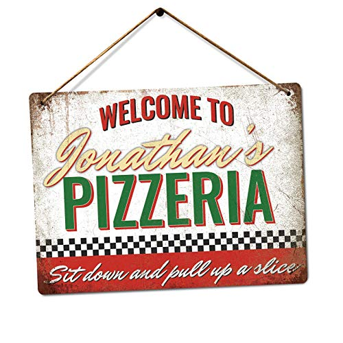 Customised Pizzeria - Personalised Pizza Sign - Medium Twine | Printed Metal Wall Sign Plaque