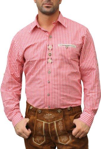 Trachtenhemd für Lederhosen mit Verzierung rot/kariert, Hemdgröße:3XL