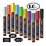 Kreidestift, Blusmart 10 Stück Kreidemarker farbig sortiert Löschbar Glas Fenster markier mit 40 Tafelaufkleber, Reversible Keilspitze 6mm, Kinderfreundlich -