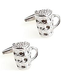 CIFIDET Silver Beer Cup Mug Cuff Links Fashion Men Shirt Cufflinks With Gift Box
