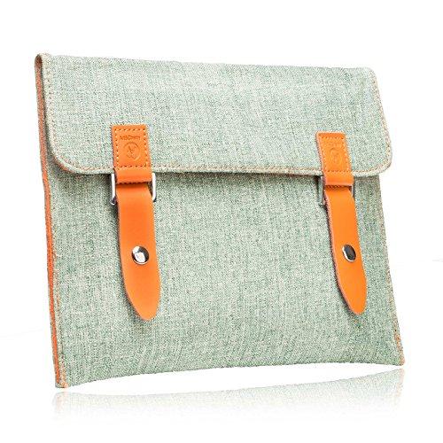 """#DoYourMobile© Tasche/Schutzhülle für eBook-Reader (eReader) - Tweedstoff in der Größe L 18 x B 14,4cm / 5,8 - 6,2"""" mit edlem Emblem & Druckknopfverschluss/Stoffmuster : 7 (grün)"""