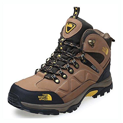 Zapatillas para hombre de cuero genuino para Zapatos de trekking para exteriores de alta montaña Otoño e invierno para mantener cálido Más cachemira para al aire libre Escalada para botas para caminar , brown , 44