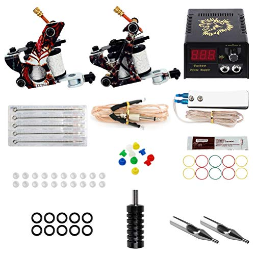 Tattoo Machine Set Lion Head Power Supply 5 Tattoo Needle Professional Full Set Of 2Machine Tattoo Set (no ()