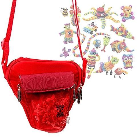 DURAGADGET Sac rouge motif fleurs pour Bunchems Jeu de Construction / Loisirs Créatifs 6026103 et petits accessoires + bandoulière amovible