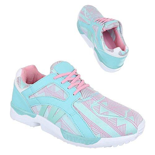Ital-Design Damen Schuhe, 523, Freizeitschuhe Sneakers Turnschuhe Hellblau