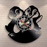 Divertente Simpatico Pinguino 3D Record Clock Animal Theme Cd Orologio Cartoon Cute Vinyl Record Orologio Da Parete Creative Home Decor Clock