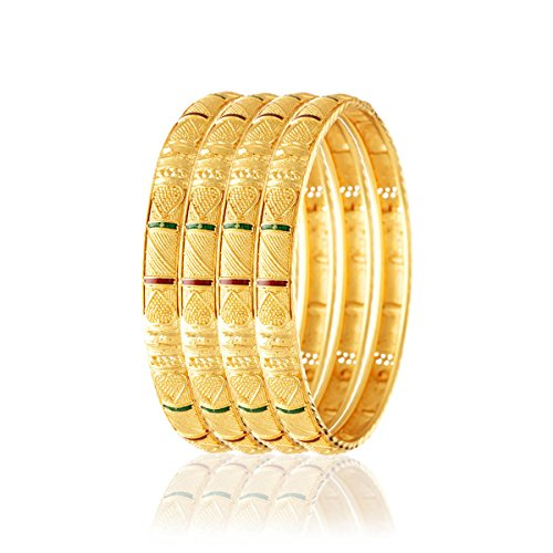 Variation Set of 4 Gold Plated Bangles for Women - VD18047_2.6