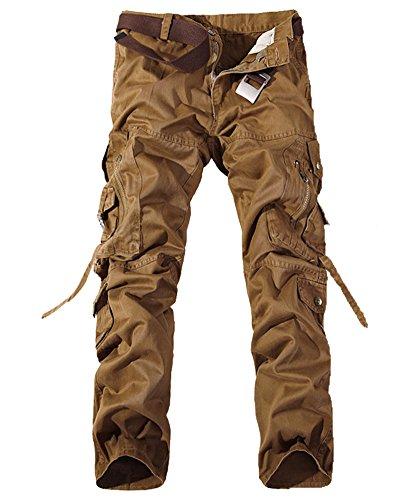 Homme Cargo Pantalons Travail-Multi Poches Vintage Style Combat Militaire Pants Kaki Foncé