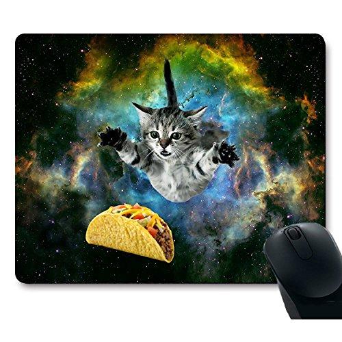 zmvise Katze Flying durch Raum erreicht für eine Taco in Galaxy Space Maus Pad