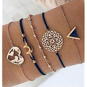 Healthy Clubs böhmisches mehrschichtiges Armband-Gesetzte Frauen-Mädchen-Art und Weise Reizend Liebes-Karten-Goldketten-Armband-Armband-Geschenk