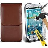 Fone-Case ( Brown ) Samsung galaxy S3 Mini étui Cover Case Brand New Luxury Cuir Side Faux PU Vertical Pull Tab Pouch Housse de la peau avec Protecteurs d'écran en verre trempé Crystal Clear LCD