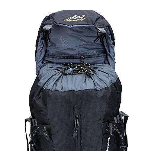 Lixada 50L Zaino Impermeabile Sport Trekking Escursioni Campeggio Viaggio Arrampicata Zaino con Copertura della Pioggia Nero