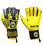 Walter Tiger Paire de gants professionnels pour gardien de but de football, avec barrettes, jaune, 9