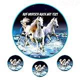 Tortenaufleger aus Zuckerpapier - Tortenbild Geburtstag Tortenplatte Zuckerbild Motiv: Weiße Pferde