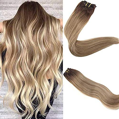 Easyouth clip in hair estensioni capelli veri clip 3 marrone scuro che si sbiadisce a 8 riflessi marrone cenere con 22 biondi chiari 100 g per confezione 45 cm di estensione morbida di capelli veri
