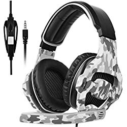 2017 Nuevo SADES SA810 camuflaje Multi-Platform Auriculares Gaming, 3.5mm Gaming auriculares con micrófono inteligente cancelación de ruido para nueva Xbox One/PS4/portátil/Mac/Tablet/iPhone/iPad/iPod