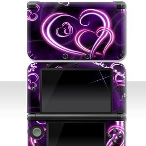 """Nintendo 3DS XL Skin """" NEON HEARTS """" Aufkleber Sticker Folie Schutzfolie"""