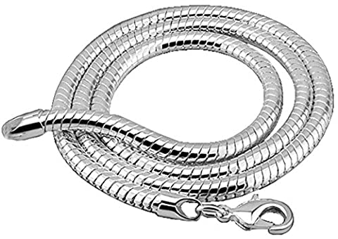 4mm thick solid sterling silver 925 stamped Italian round link SNAKE CHAIN 24 inch necklace with lobster claw clasp 16, 18, 20, 22 & 24 inches available.