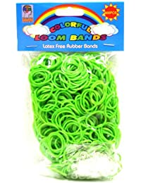 Loom Bandz - Rainbow Colours - Green 600 Count With Clips