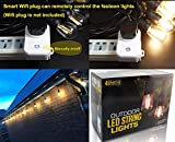 Outdoor-String-Lights-LED-BRIMAX-48ft-Heavy-Duty-Commercial-Grade-IP65-Waterproof-String-Lights15-E27-Sockets-18-LED-Bulbs-2W-Warm-WhiteWeatherproof-Garden-lights-for-PatioBackyardCafeWedding