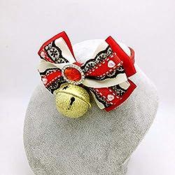 Dixinla Collier Chien Papillon à la Main de la Dentelle de Strass Fourrure Cravate Chat Chien Cloche Bijoux