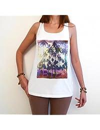 Ibiza Palms Paradize T-Shirt Femme,Blanc, t shirt femme,cadeau