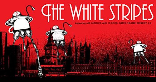Weiß Streifen 13/08/05Berkeley Limited Edition Siebdruck Print Musik Poster von Rob Jones Original unterschrieben und nummeriert mit: Weiß Streifen, AUTOLUX -