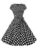 Mallimoda Donna Manica Corta Vestito Ragazze Vintage Anni '50 A-Line Vestiti Cerimonia Partito Cocktail Abito Nero L