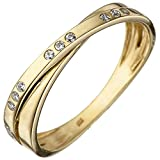JOBO Damen Ring 333 Gold Gelbgold 15 Zirkonia Goldring Größe 58
