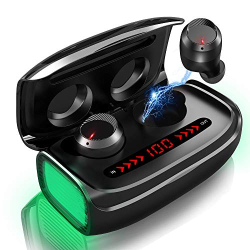 Bluetooth V5.0 Kopfhörer Wireless In Ear 170h Spielzeit APTX HiFi Deep Bass Auto Pairing CVC8.0 Geräuschunterdrückung Sport Kopfhörer Ohrhörer Stereo mit Touch Control Digitalanzeige 3000 mAh Ladebox