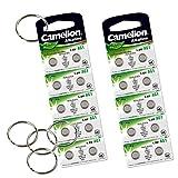 Camelion by SBS Knopfzelle Alkaline Batterie LR 60 AG1 20 Stück 1,5V + 5x Schlüsselringe gratis