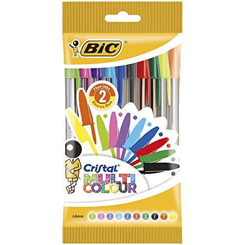 Bic Cristal Multicolor Pack de 10 Stylos-Bille pointe large MultiCouleu