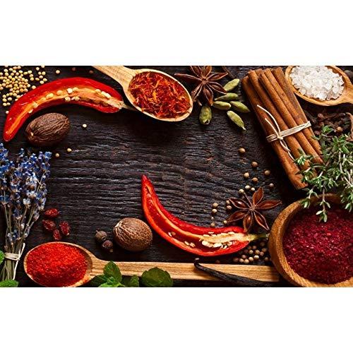 NIMCG Stampa Artistica su Tela Poster Spezie Colorate riunite sul Tavolo da Parete Immagine di Cibo Decorazioni per la casa Cucina Arte Pittura Replica (Senza Cornice) A4 20x30 cm