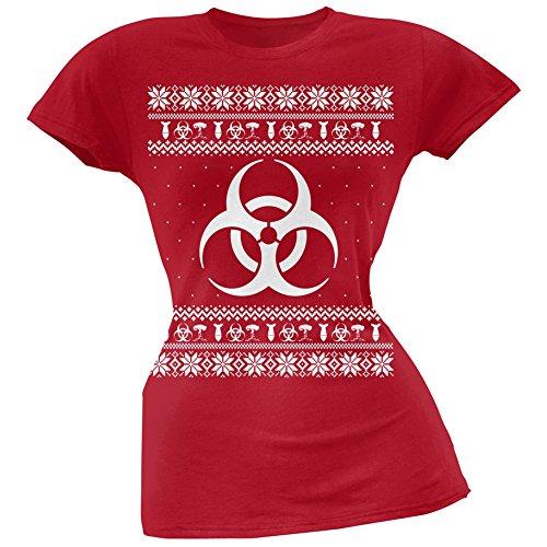 Biohazard Symbol hässlich Christmas Sweater rot weich Juniors T-Shirt Red