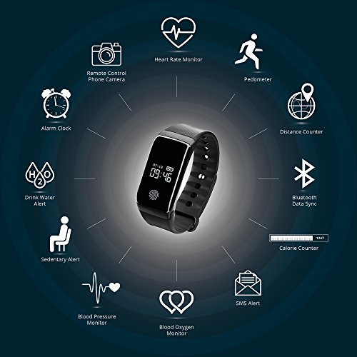Smart Watch Fitness Tracker Bluetooth Heart Rate Monitor With Pedometer Blood Pressure Calorie Counter Compatible With IPhone Android By Body Fit