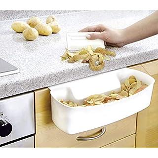 WENKO 7730100 Auffangschale für Küchenabfälle, inklusive Schaber, Polypropylen, 32.5 x 9 x 17.5 cm, Weiß