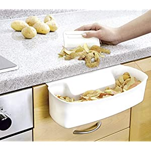 WENKO 7730100 Collecting tray for kitchen waste - including scraper, Polypropylene, 32.4 x 9.2 x 17.3 cm, White