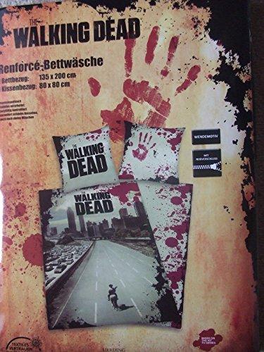 Herding 4465088050573 Bettwäsche The Walking Dead, Kopfkissenbezug: 80 x 80 cm + Bettbezug: 135 x 200 cm, 100 % Baumwolle, Linon