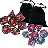 Cerixo 2 x 7 Dice Set Two Colors Polyhedral Dice Series with Black Drawstring Bag Dungeons and Dragons DND RPG MTG Table Games Dice