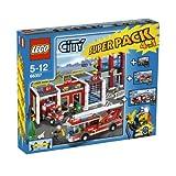 LEGO City 66357 - Feuerwehr 4 in 1 Superpack, bestehend aus Hauptquartier (7208), Löschzug (7239), Auto(7241) und Pick-Up (7942) - LEGO