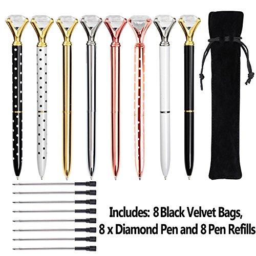 Keku 8pcs large crystal diamante penna a sfera metallica, borsa nera e 8ricariche per penna a sfera, per donne, colleghi, bambini, ragazze
