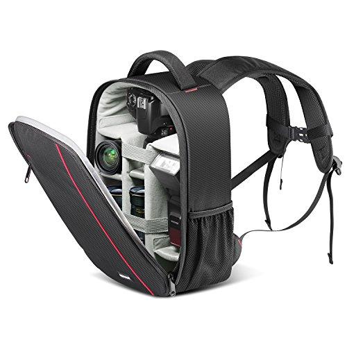 Neewer zaino per fotocamera impermeabile antiurto 37x26x14cm con supporto per treppiedi & tasca esterna, per reflex digitali, fotocamere mirrorless, flash & altri accessori (grigio interno)